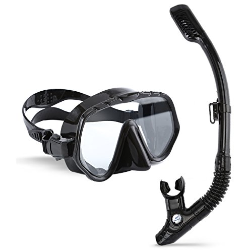 Máscara de Buceo con Tubo, ARAER Snorkel Máscara Gafas de Buceo de Silicona con Visión de 180° Lentes Vidrio Templado Antiniebla Cristal Resistente Rotura en Seco con Correa Cabeza Ajustable - Negro