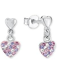 Prinzessin Lillifee Kinder-Ohrhänger Herz 925 Silber rhodiniert Kristall rosa lila