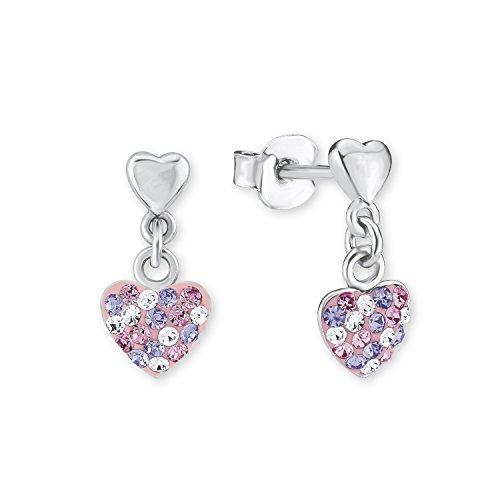 Prinzessin Lillifee Kinder-Ohrhänger Herz 925 Silber rhodiniert Kristall mehrfarbig - 2013169