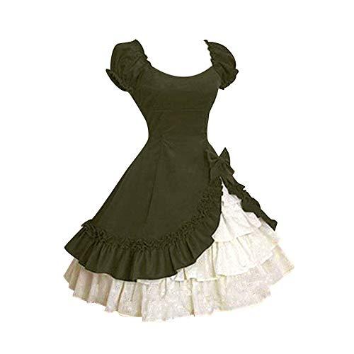(Riou Ballkleider Lang Prinzessin Damen Partykleider Elegant Rüschen Kurzarm A Linie Vintage Frill Frock für Brautjungfer Hochzeit Abend Cocktailkleid)