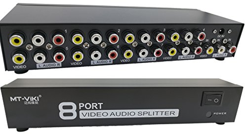 1 In 8 Out 3 RCA AV Audio Video Splitter Verstärker für Kabel-Box DVD DVR Analog-TV 1x8 Port Splitter Composite-3 Cinch-AV-Video Audio-Switch Umschalter, QiCheng&LYS Av-out-kabel