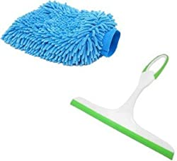 Snowpearl Combo of Multicolor Car Windshield & Kitchen, Table & Platform Cleaning Wiper and Mitt Hand Glove Duster