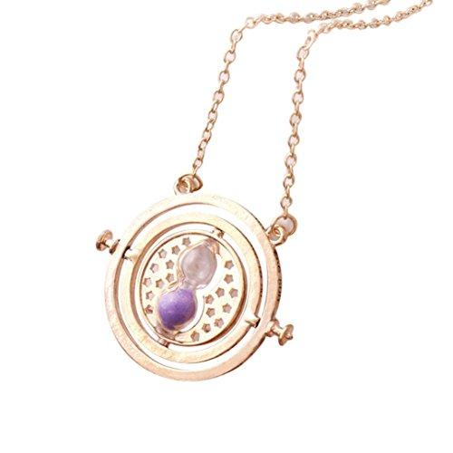 Preisvergleich Produktbild DOLDOA Mädchen Damen Elegante Gold Rotierende Spins Hourglass Halskette necklace kollier (Lila)