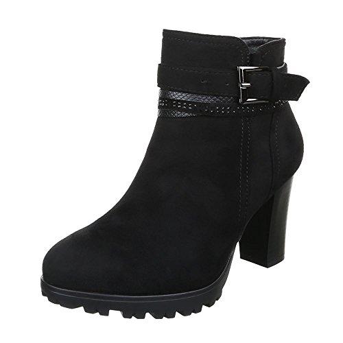 Damen Schuhe Leicht Gefütterte Schlupfstiefel Reißverschluss Klassische Stiefeletten Stiefeletten Pump Schwarz