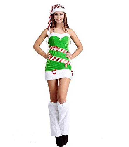MFFACAI Frauen Fräulein Santa Santa Kostüme Mädchen Frauen Rot Grün Weihnachtsmann Samt Kostüm Mit Hut Kostüm (Samt Miss Santa Kostüme)