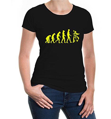 buXsbaum® Damen Kurzarm Girlie T-Shirt bedruckt The Evolution of cello | Instrument Streichinstrument Orchester | S black-neonyellow Schwarz