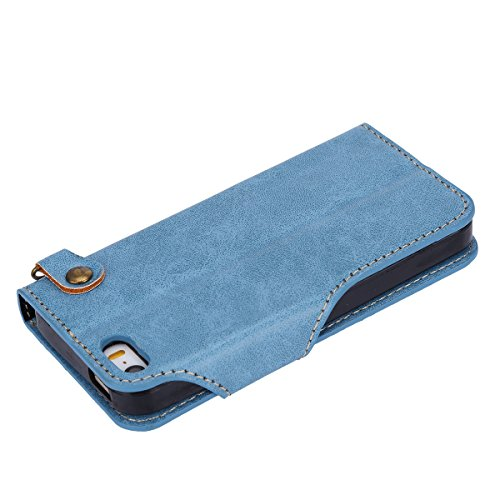 Custodia iPhone 5, iPhone 5S Flip Case Leather, SainCat Custodia in Pelle Flip Cover per iPhone 5/5S/SE, Custodia Bling Glitter Diamante Ultra Sottile Anti-Scratch Book Style Custodia Morbida Cover Pr Blu #