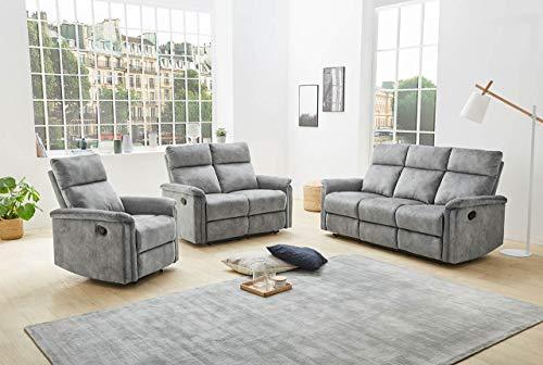 lifestyle4living Couchgarnitur in grauem Velour mit praktischer Relaxfunktion, Garnitur bestehend aus Sessel, 2-Sitzer und 3-Sitzer Sofa