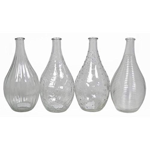 INNA Glas Set 12 x Glasvasen Reiko, Set von 4, Kegel/Rund, klar, 20 cm, Ø 2,5 cm/Ø 10 cm - 12 Stück Stielblumenvase/Mini Vase Cmos 2,5