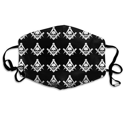 Gesichtsmaske für Damen und Herren, Anti-Allergie, mit verstellbarem Gummiband, mit Totenkopf-Freimaurer-Logo, Schwarz