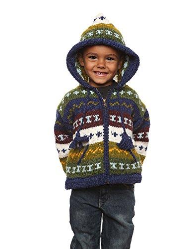 """Mädchen - Otavalo Wolle/Baumwolle-Mischung - Handgestrickete Kapuzenjacke """"Rayas"""" - Strickjacke mit Reißverschluss - Größe: 8-10 Jahre (Kostüm Alaska Jungen)"""