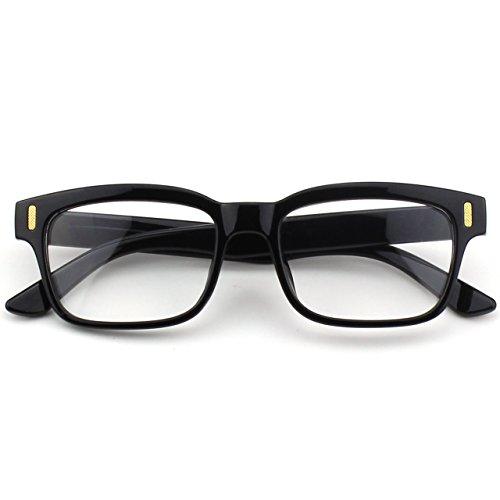 CGID CN12 Brille Extra Schmaler Rahmen! Slim Rechteck Nerd Clear Brille, B Glossy Schwarz, 52