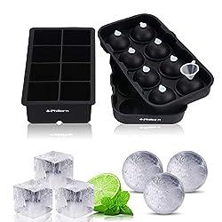 Philorn Eiswürfelform 48mm Eiskugelformer 56mm Silikon Eiswürfelbehälter Würfel Eiswuerfel mit BPA Frei für Babybrei, Babynahrung, Bier, Cocktails, Whisky, Wasser, Soda, Obst, Pudding