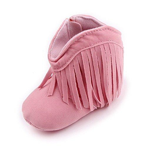 Auxma Pour bébé 0-18 mois,Chaussures bébé Bottes de neige Semelle souple prewalker (0-6 M, Beige) Rose