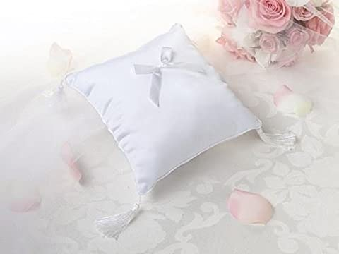 Plaine satin bague de cérémonie de mariage Oreiller Coussin - Blanc (Paquet de 2)