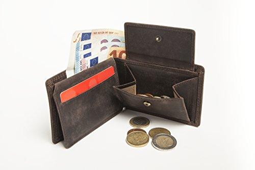 Kleines Echt-Leder Portemonnaie handgefertigt mit Münzfach | Portmonee sehr handlich für wichtige Dinge | Geldbeutel / Wallet / Brieftasche / Geldbörse im Querformat | Braun Vintage-Look