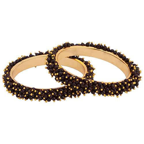 Gold Plattiert Kostüm Sets Schmuck - Efulgenz Modeschmuck Indische Bollywood 14 K Gold plattiert Multicolor Kunstperlen Perlen Hochzeit Braut Armband Armreif (2 Stück)