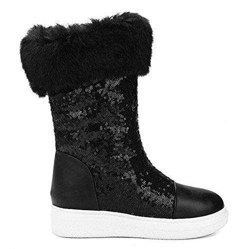 YE Damen Winter Flache Plateau Wedges Stiefeletten mit Keilabsatz Fur warm Schneestiefel Schwarz
