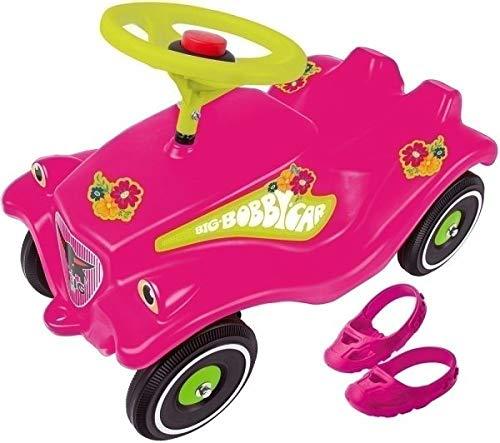 BIG Spielwarenfabrik 800056103 Big Bobby Car, Flower Power mit Schuhschoner und Flüsterreifen
