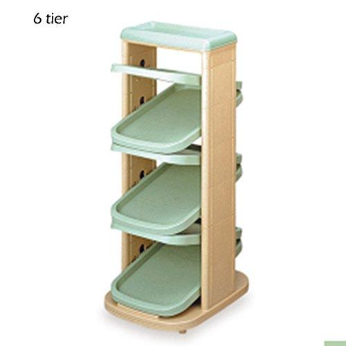 DNSJB 6/8/10 Tier Schmale Schuhregal Für Kinder, Kunststoff Lagerung Stand Für Boots Balkon Eingang Ecke Eingangsbereich, Stapelbar Regal (Farbe : Green, größe : 6 Tier) -