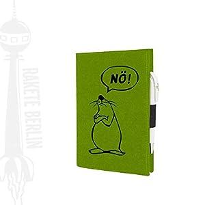 Filzhülle/-umschlag für A5 Kladde, Organizer etc.- ' Nö! ' mit Steckfach und Stiftschlaufe