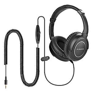 Avantree HF039 Over Ear TV Kopfhörer mit Langes Kabel (16.4 Fuß / 5M), HiFi Stereo Headset für Fernseher, mit Ohrmuscheln, 3.5mm Audio Output, mit Spiralenkabel und eingebauter Lautstärkeregelung
