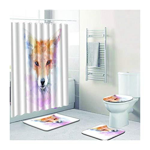 SonMo 4-Teiliges Duschvorhang- Und Badezimmermatten-Set Duschvorleger Toilettenabdeung Polyester...