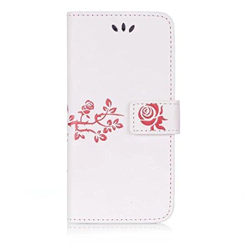 iPhone Case Cover Riemen Lanyard Kunststoff PU Ledertasche Folio Geldbörse mit Kartenschlitzen Magnetverschluss Geprägte Blumen Muster Fall Deckung für iPhone 6S 6 ( Color : Black , Size : IPhone 6 6S White
