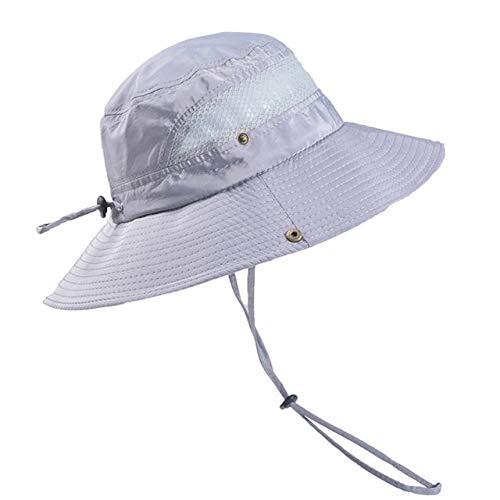 LUHOU SonnenhutHüte Mode Herren Sommer Outdoor Sonnenhut Schutz Solide Polyester Angeln Eimer Mesh Hut Eine Größe Gy Columbia-mesh-hut