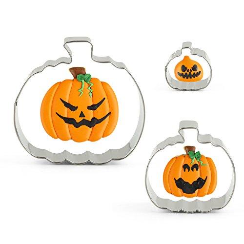 KENIAO 3-tlg Halloween Ausstechformen Kürbis Ausstecher für Plätzchen,Kekse und Fondant