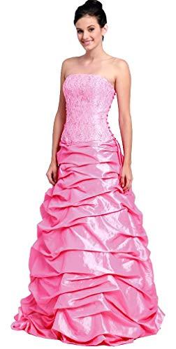 Ballkleid Boden-lang für Hochzeit Abendkleid elegant figurbetont Abiball-Kleid Brautjungfernkleid Brautmutterkleid Corsagenkleid schulterfrei Spitze TAFT pink Größe 36