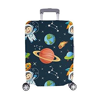 Childish Space Astronaut Earth Spandex Trolley Reisegepäck-Schutzkoffer-Abdeckung 28,5 X 20,5 Zoll