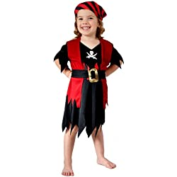 Disfraz de pirata grumete para niña, negro y rojo.