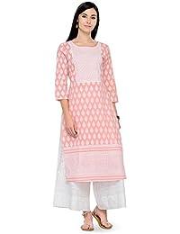 Varanga Pink Cotton Printed Kurta KFF-VARSS17158