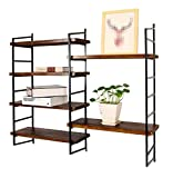 Wandregal Metall Eisen Holz Wandmontage | Wandbehang Würfel Regal für Schlafzimmer als Bücherregal Lagerregal | Floating Unit Frame als Wanddekoration Design LOFT Vintage Industrial Style (Schwarz) ( größe : 6 tiers )