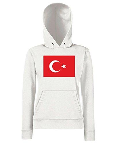 T-Shirtshock - Sweats a capuche Femme TM0255 Turkey flag Blanc