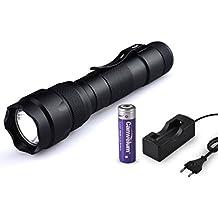 Canwelum - Linterna LED Cree T6 alta potencia recargablE (kit completo linterna, batería litio 18650 y cargador Euro)