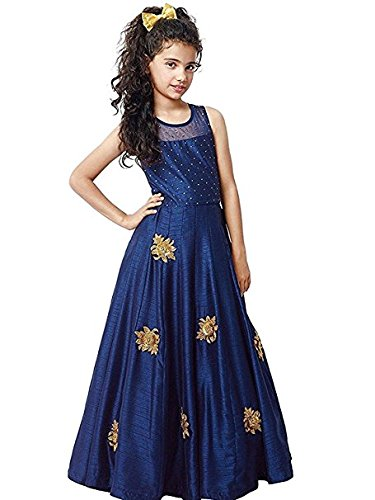 Dream Note Girl's Blue-Color Banglory Silk semi-stitched Offer lehengha choli,gown,dress,salwar suit (Kids_Free...