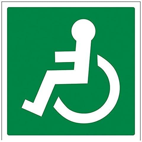 vsafety 14019at-s Fire Exit Sign De Roue, chaise Logo Face à Gauche, autocollant, carré, 200mm x 200mm, vert