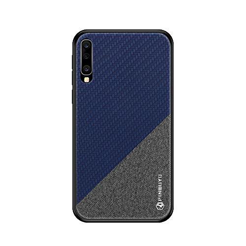 ible with Samsung Galaxy A50 Hülle Slim Hard PC Weicher Rand Silikonrahmen Cloth Craft Handy Schutz Schutzhülle für Samsung A50 Smartphone 2019 (A50, Blue) ()