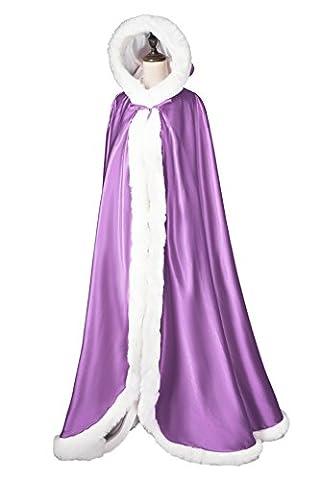 Beautelicate Longue cape de mariée avec fourrure - blanc cassé - taille (Circles Ivory)