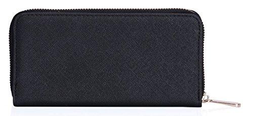 Kukubird Alla Moda Firmato Mostro Occhi Ecopelle Borsa Grande Clutch Wallet Black