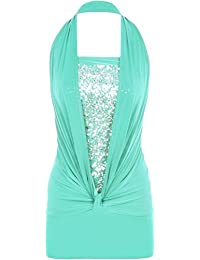 WearAll Ladies Sequin Halter Neck Ruched Boob Tube Womens Stretch Sleeveless Party Top Sizes 8-16