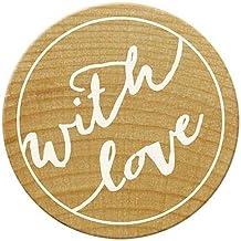 Made With Love Holz Gummi Stempel mit Wimpelmotiv handgefertigt mit Geschenkanh/änger