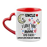 Personalised Fathers Day Themed Uncle I Love You to The Moon & Back 11oz Red Inside red Heart Handle Mug.