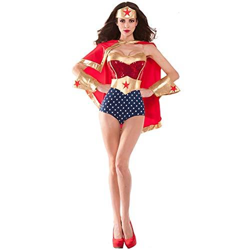 Superman Cosplay Kostüm Frauen Offizielle Super Mädchen Erwachsene Damen Sexy Mantel Kleidung Weihnachten Halloween Show Superheld Body Overalls,Red,M