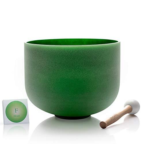 TOPFUND singen schalen 432hz F notiz kristall klangschalen herz chakra grün 8 zoll (o - ring und hammer enthalten)