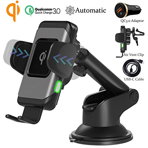 Wefunix Caricabatterie Auto Wireless Caricatore Wireless Veloce Quick Charge QC3.0 [USB C]+Sensore Automatico, 7.5W per iPhone XS Max XR X 8 Plus, 10W per Samsung Galaxy S10 S9 S8 S7 Note 10/9/8 -CC70