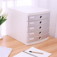 Met Love File Cabinet Office Desktop 5 Capas Stationery Storage Drawer Plastic Small Filing Cabinets (Color : Gray)