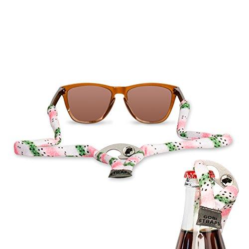 Gobi Straps Sonnenbrillengurte - integrierter Flaschenöffner - Sonnenbrillenhalter - Sonnenbrillenband - Sonnenbrillenband - schnelltrocknend, Rainbow Trout Print